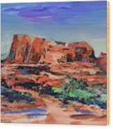 Courthouse Butte Rock - Sedona Wood Print