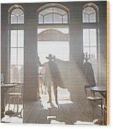Cowboy At Saloon Wood Print