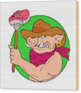 Cowboy Hog Holding Barbecue Steak Drawing Color Wood Print