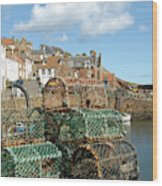 Crail Harbour And Lobster Pots Wood Print