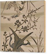 Cranes And Birds At Pond 1880 Wood Print