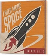Creative Design Concept With Rocket And Wood Print