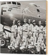 Crew Standing With B-29 Superfortress Wood Print