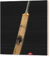 Cricket Bat With Hole And Ball Wood Print
