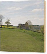Crighton Castle Ruins And Hills, Midlothian Wood Print