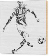 Cristiano Ronaldo Juventus Water Color Pixel Art 1 Wood Print