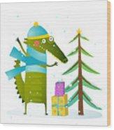 Crocodile Wearing Winter Warm Clothes Wood Print