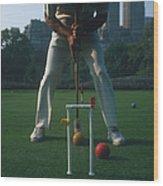 Croquet Player Wood Print