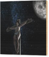 Crucifiction Surreal Wood Print