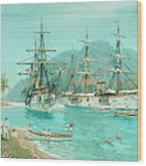 Cruiser And Gunboat Hoist On Ponape The German Flag Wood Print