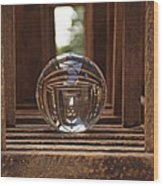 Crystal Ball In Wooden Lanterns Wood Print