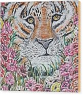 Cuddles The Tiger Small  Wood Print