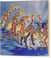 Curious Giraffes  Wood Print