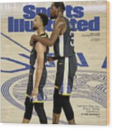 Curry  Durant Inside A Golden Basketball Sunset Sports Illustrated Cover Wood Print