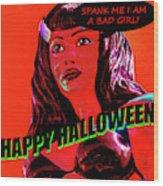 Custom Halloween Card She-devil Wood Print