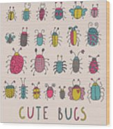Cute Bugs. Cartoon Insects In Vector Set Wood Print