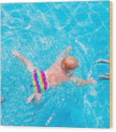 Cute Little Baby Swimming Underwater Wood Print