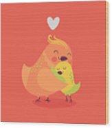 Cute Vector Cartoon Decorative Birds Wood Print