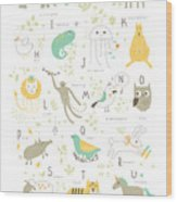 Cute Zoo Alphabet With Funny Animals In Wood Print
