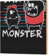 Dada Monster Cute Monster Cartoon For Kids And Dad Dark Wood Print