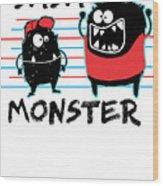 Dada Monster Cute Monster Cartoon For Kids And Dad Light Wood Print