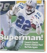 Dallas Cowboys Emmitt Smith, Super Bowl Xxviii Sports Illustrated Cover Wood Print
