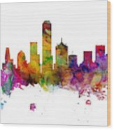 Dallas Texas Skyline Panoramic Wood Print