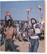 Dancing Hippies Wood Print