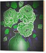 Dark And Delicious Roses  In Green Wood Print