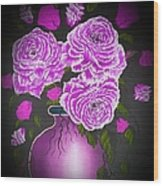 Dark And Delicious Roses In Pink Lilac Wood Print