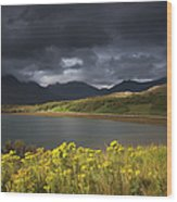 Dark Storm Clouds Hang Over The Wood Print