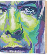 David Bowie Portrait In Aqua And Green Wood Print