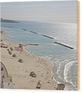 Day View Of Tel Aviv Promenade And Beach Wood Print