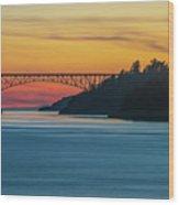 Deception Pass Bridge Sunset Light Wood Print