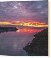 Deception Pass Sunset Landscape Wood Print