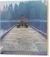 Deep Lake Dock  Wood Print
