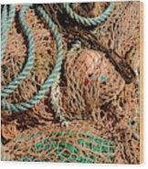 Deep Sea Fishing Nets And Buoys Wood Print