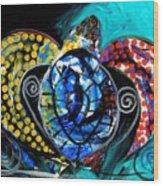 Deep Sea Sea Turtle Wood Print
