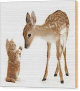 Deer Little Friend Wood Print
