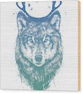 Deer Wolf Wood Print