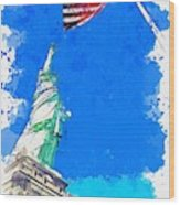 Defending Liberty Watercolor By Ahmet Asar Wood Print
