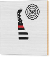 Delaware Firefighter Shield Thin Red Line Flag Wood Print