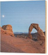 Delicate Arch During Sunset In Utah Wood Print