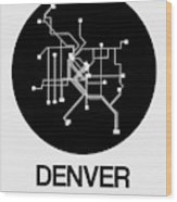 Denver Black Subway Map Wood Print