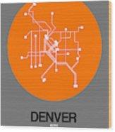 Denver Orange Subway Map Wood Print