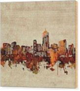 Denver Skyline Sepia Wood Print