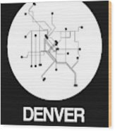 Denver White Subway Map Wood Print