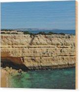 Deserta Beach Scene In Algarve Wood Print
