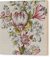 Design For Sprays Of Flowers Wood Print