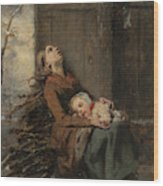 Destitute Dead Mother Holding Her Sleeping Child In Winter, 1850 Wood Print